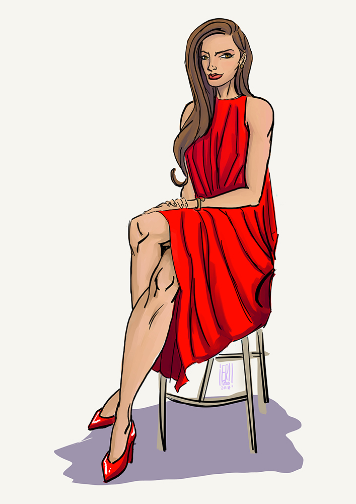 sitting woman red